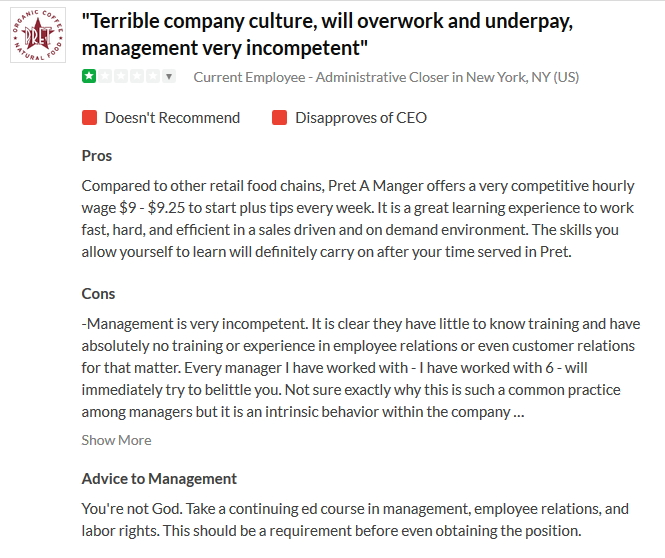 Quote Pret #20 Terrible Company