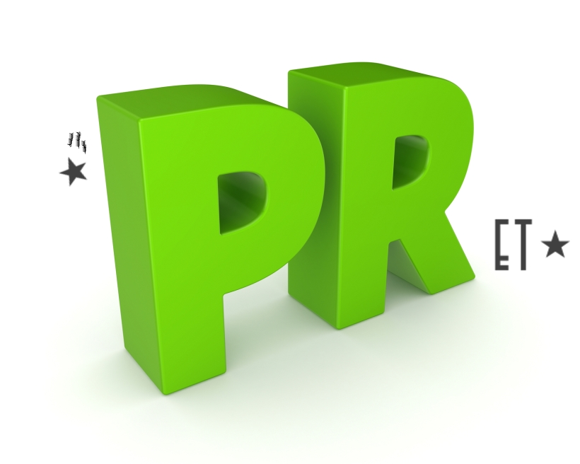 Word PR.Isolated on white background.3d rendered illustration.
