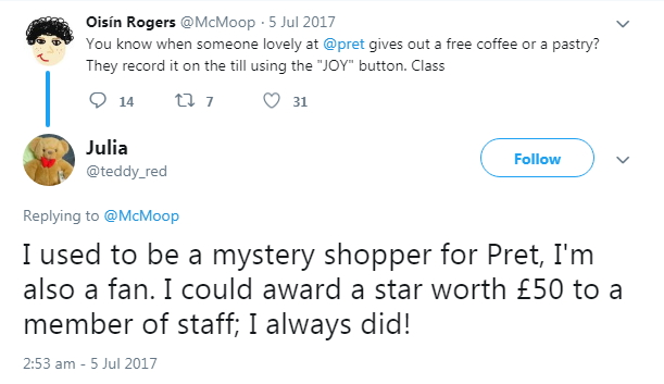 2017 A Mystery Shopper tweeted
