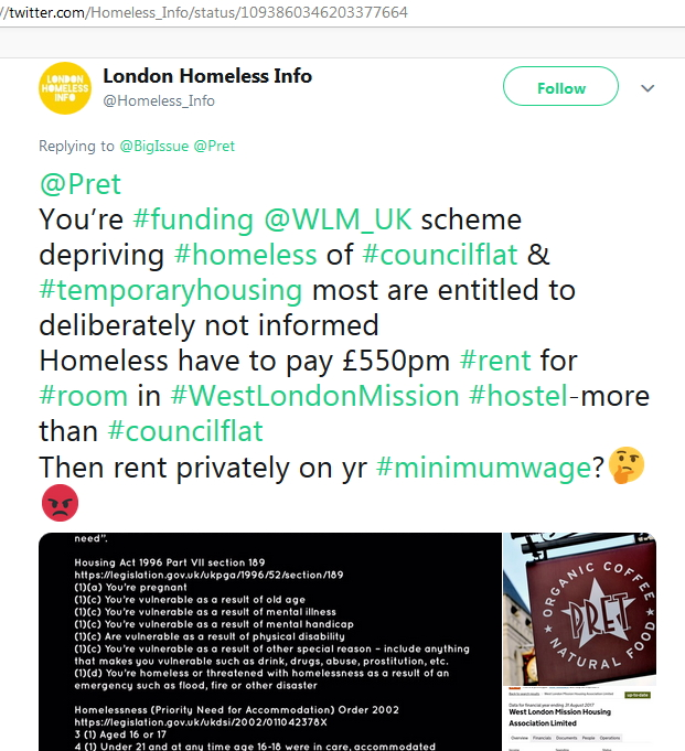 2019-02-08 Former Homeless Tweet re homeless house Pret