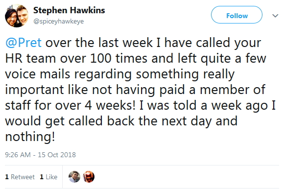 2018-10-15 Staff complain in Twitter not paid HR