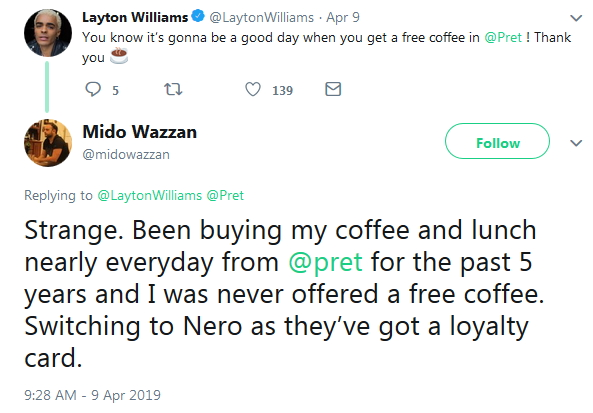 2019-04-16 five 5 years no free coffee