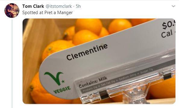 2019-12-20 Pret USA label Clementine contains milk