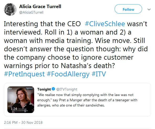 2018-11-30 Alicia Turrell on Clare Clough woman allergen