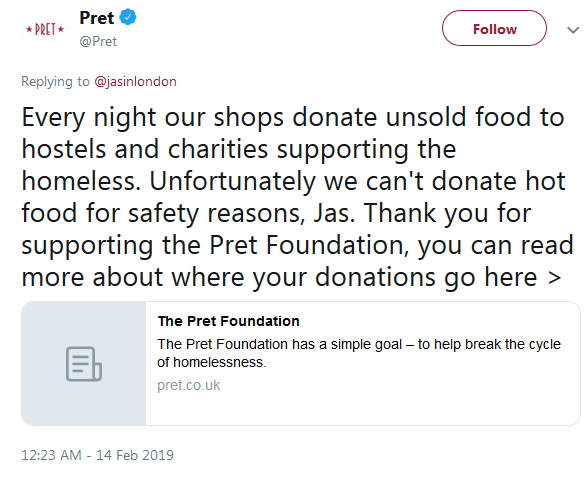 2019-02-14 Pret hot food charity