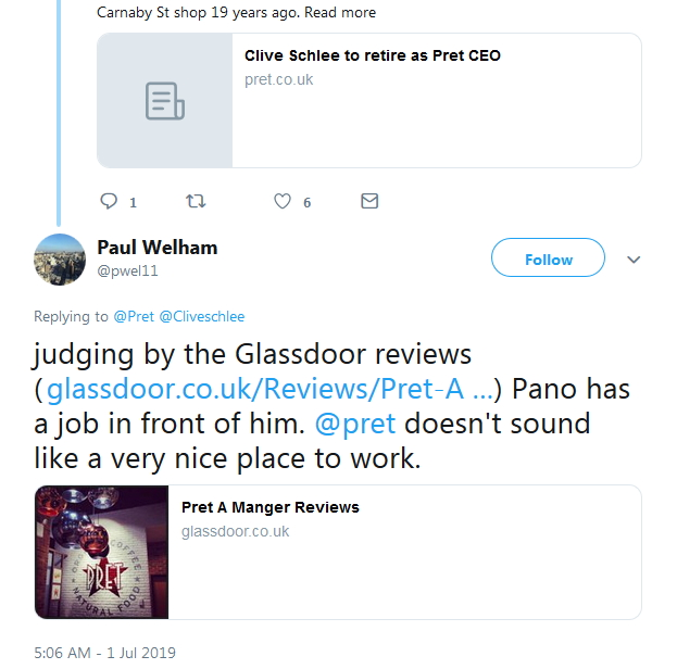 2019-07-01 Tweeter re Glassdoor
