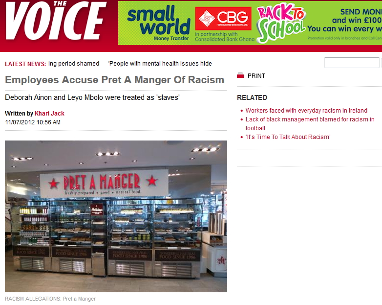 2012 Pret accused of racism