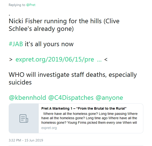 2019-06-15 Nicki Fisher Clive Schlee gone