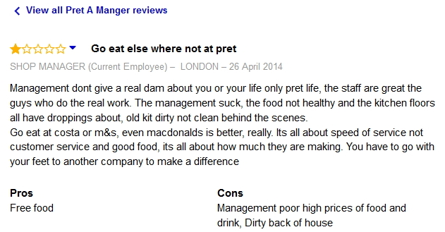 PRET A Manger STAFF COMPLAINTS – Quotes of the Day – Pret A ...