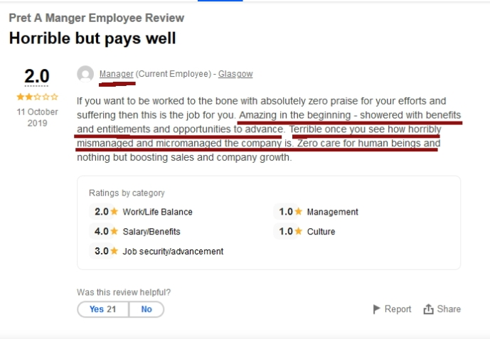 Manager review good at first